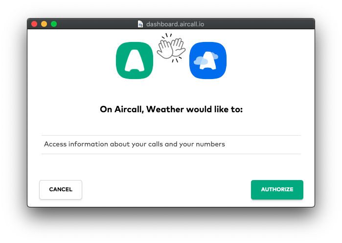 Aircall Authorize popup